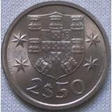 Portugal 2 1/2 Escudos Año 1968 Moneda De Cuproníquel Km#590