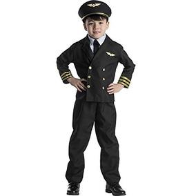 Disfraz De Piloto Para Niño Talla M - Negro