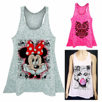Regata Estampada Fitness Plus Size Minnie Marilyn Caveira