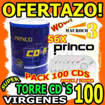 Wow Torre 100 Cd Virgenes Princo 56x 80min / 700mb Cds