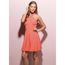 Vestido Decote Transpassado Coral