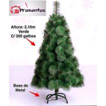 Árvore De Natal Pinheiro Luxo Verde 2,10m C/300 Galhos