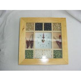 Reloj Artesanal Panel De Abeja Con Semillas Unico
