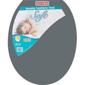 Assento Sanitário Oval Plástico Cinza 1 Astra P/ Vasos Ovais
