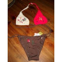 Bikini Marron Colorado Y Beige, De Cristobal Colon