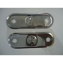 Espelho Maçaneta Interna Fusca Inox Logo Vw Acabamento Porta
