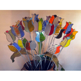 Tulipan Tutor Adorno Maceta Vitraux Tiffany Diseño Lote X 10