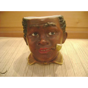 Espectacular Tabaco Box De Porcelana Cabeza Mulato Con Pipa