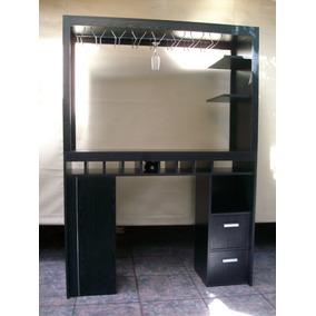 Barra de madera mueble desayunador con porta copas y - Mueble barra cocina ...
