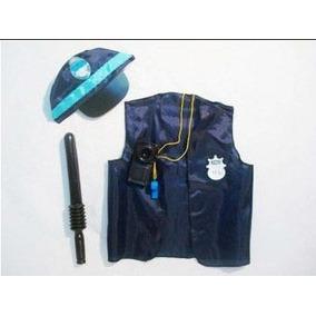 Disfraz Set De Policia Chaleco Gorra Baston Silbato Handy