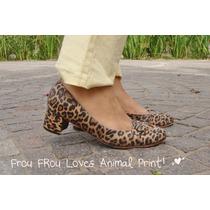 Zapatos Cuero Animal Print Taco Medio 39 - Frou Frou Shoes
