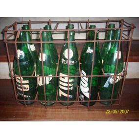 Antiguos Envases De Gaseosa Con Cajón De Hierro