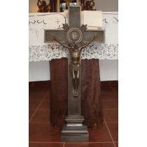 Antigua Cruz De Bronce Patinado