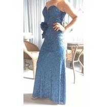 Vestido De Festa Em Paetes,cor Azul, Patchoulee Tam. 40