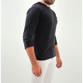 Camiseta Com Capuz Slim Fit Masculina Algodão Malha Flame