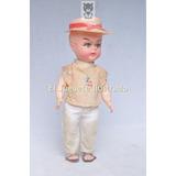Muñeca De Plastico Soplado Con Sombero Juguete Antiguo