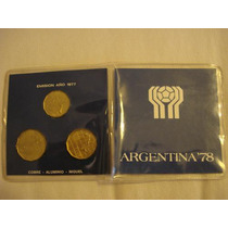 3 Monedas Conmemorativas Del Mundial78, Con Estuche