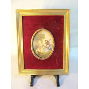 el arcon antiguo cuadro marco dorado vidrio bombe