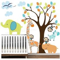 Adesivo Decoração Parede Quarto Bebe Infantil Zoo Animais
