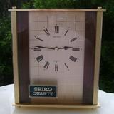 Elegante Reloj Seiko De Mesa Bronce Jaspeado Y Bruñido