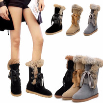 Botas Fashion Mujer Invierno Lace Up Flat Warm Plush Fur Sno