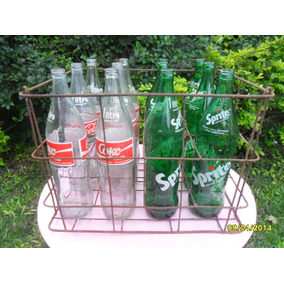 Antiguo Cajón Con 6 Botellas Coca Cola Coke Y 6 Sprite