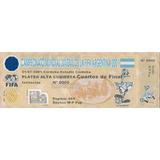 Ticket De Entrada Mundial Juvenil De Fútbol 2001