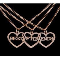 Colar Triplo Best Friends 3 Corações Dourado Melhores Amigos