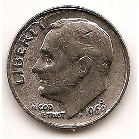 Moneda Estados Unidos One 1 Dime 10 Centavos Año 1969 D