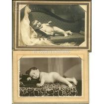 Ib02 Lote X 2 Retratos Bebe 1946 Antigua Fotografia Estudio