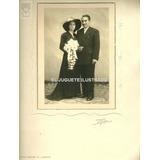 C029 Foto Novia Vestido Negro Antigua 1951 34x24 Pareja