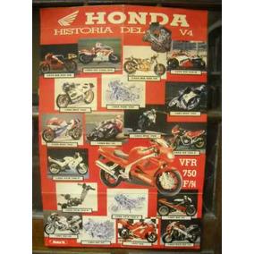 Poster - Honda Motos - Historia Del V4 1976-1994 - Retro