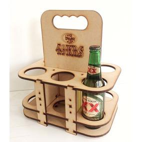 Six Pack Porta Cervezas Madera Mdf Logo Personalizado