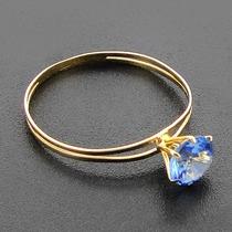 Anel Calice Em Ouro 18k 750 Com Zirconia 5mm