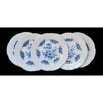 Juego 6 Plato Playo Porcelana Verbano Mozarth Flores Azules