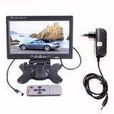 Tela Lcd 7 Polegadas Portátil Monitor Veicular + Fonte 12v