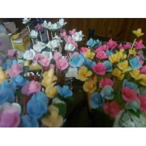 Varillas De Rattan Con Flores De Porcelana X 100