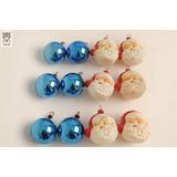Lote X12 Bolas Vidrio Azul Y Papa Noel Navidad Antiguo
