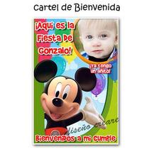 Cumpleaños Mickey: Cartel Bienvenida + 15 Souvenirs Iman
