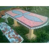 Juego De Jardin Mesa Y Banco De Cemento Flor De Liz