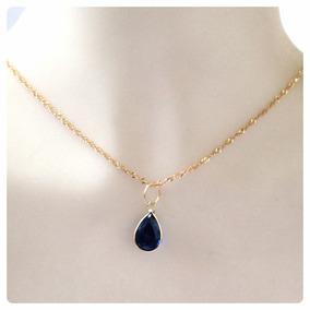 Cordão E Pingente Gota Azul Safira Joia Ouro 18k 12x S/juros