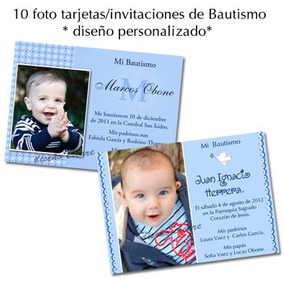 Hermosas 10 Foto Tarjetas Invitación Bautismo Primer Añito