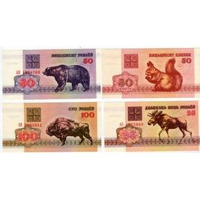5 Billetes De Bielorusia Con Animales Año 1992 Sin Circular