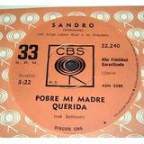 Sandro Pobre Mi Madre Querida Vinilo Simple Argentino
