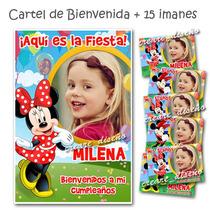 Minnie Souvenirs Iman Cumpleaños + Cartel Bienvenida Cn Foto