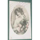 Postal Postcards Dama Mujer Señorita 1916 Peinados Flores