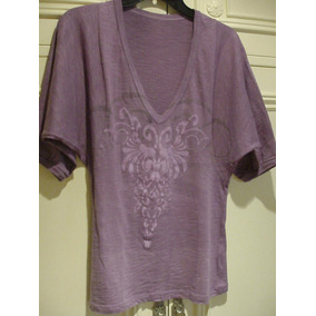 Remera Escote En V - Mangas 3/4 - Violeta - 100 % Algodón