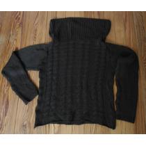 Sweater Port Said Lana Color Chocolate Cuello Volcado Jfv