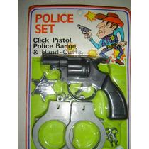 Revolver Con Esposas Y Placa-juego De Policia Nuevo
