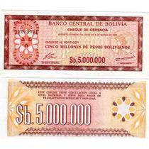 Billete Bolivia 5.000.000 Pesos Bolivianos 1985 Sin Circular